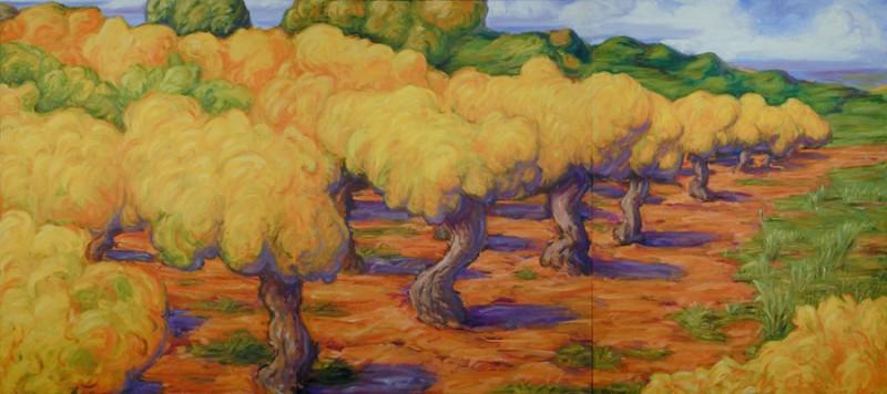 Peter Julian - Vignes 2001, triptyque, huile sur toile, 121 x 304,8 cm. Collection privée, Austin, Texas